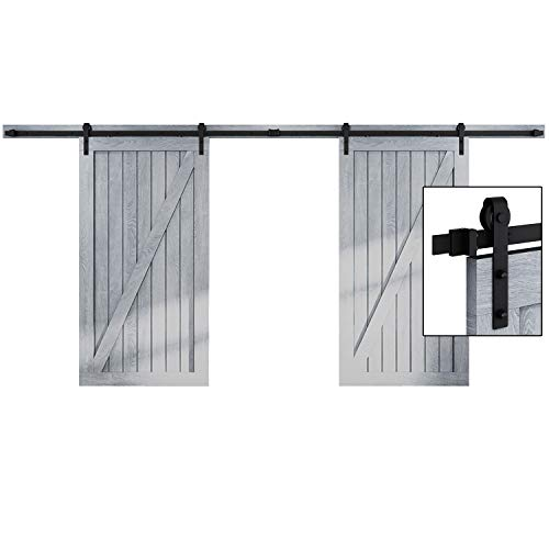- EaseLife 16 FT Double Door Sliding Barn Door Hardware Kit - Heavy Duty | Ultra Hard Sturdy | Easy Install | Slide Smooth Quiet | Fit Double 48