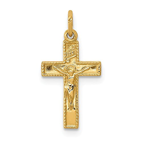 14k Yellow Gold Inri Crucifix Cross Religious Pendant Charm Necklace Latin Fine Jewelry Gifts For Women For Her