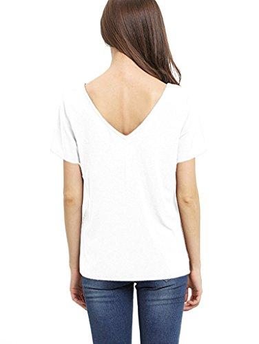 Avant de Courte Croix t Sexy Blanc Minetom T Shirt Hauts Casual Manche shirt Blouse Base Femmes 8nw0xv