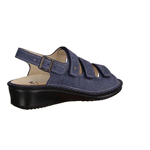 Finn Comfort Samoa- Damenschuhe Sandale bequem / lose Einlage, Blau, oldbrass ( leder )