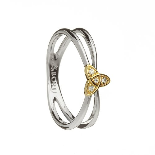 Gold Wishbone Rings (BR15-MX_7BR15-MXTrinity Knot Ring Wishbone Style Sterling Silver & 10K Gold Irish Made Size 7)