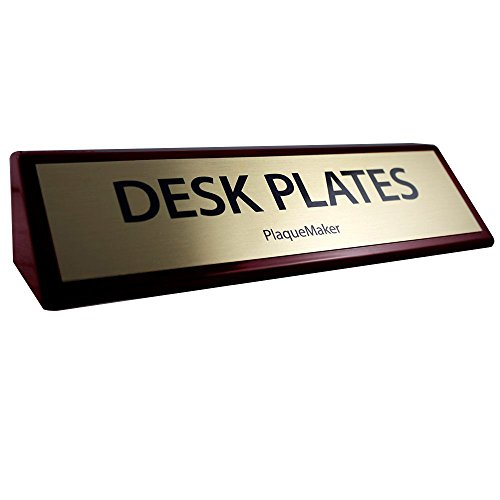 Rosewood Desk Wedge Name Plate (Gold, 10x2