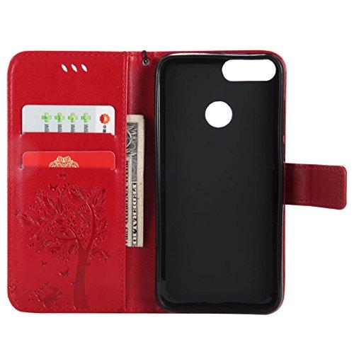 LEMORRY Handyhülle Huawei P smart Hülle Ledertasche mit Kartensteckplatz Flip Beutel Haut Bumper Schutz Magnetisch SchutzHülle Weich Silikon Cover Schale für Huawei P smart, Glücklicher Baum (Blau) Rot