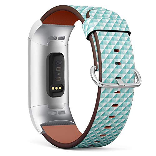 Compatible with Fitbit Charge 3 / Charge 3 SE - Leather Band Bracelet Strap Wristband Replacement with Adapters - Turquoise Diamond Shape Stud ()