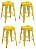 "Duhome 4 pcs 24"" Metal Chairs Tolix Style Stackable Dining Stools Indoor Outdoor Restaurant Cafe Industrial Design (Yellow)"