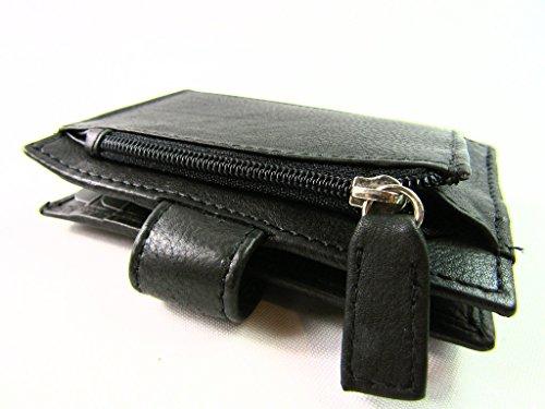 8cm Clé Carte Unisexe Profond 10 Cuir Porte Noir 2cm Large Haut Baie 5cm WwCqTS48wx