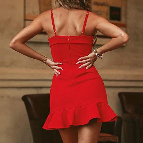 De Sans Couleur Sling V Cocktail Décontractée Rouge Mini Ete Plage Irrégulière Fit Slim Sexy Amlaiworld Femmes Robe Unie Manches Soirée Ourlet Volants Dress Col Party aFwzwHxq