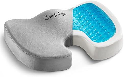ComfiLife Gel Enhanced Seat Cushion – Non-Slip Orthopedic Gel & Memory Foam Coccyx Cushion for Tailbone Pain – Office Chair Car Seat Cushion – Sciatica & Back Pain Relief