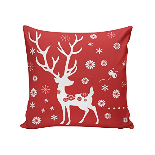 Rocking Giraffe Red Flower White Deer Throw Pillow Case Decorative Square Cushion Cover Supersoft Satin Fabric Pillowcase Home Couch Sofa Bed 16 x 16 Inch 40 x 40 cm ()