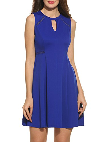 Acevog Women's Sleeveless A-line Lace Stitching Evening Party Cocktail Dress (Small, Blue)