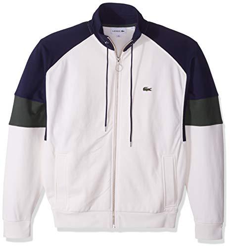 Lacoste Sweater Dress - Lacoste Men's Long Sleeve Fleece with Full Zip and Pockets Sweatshirt, geode/Caper Bush/Navy Blue, Small