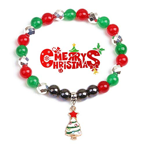 JSstudio Christmas Bracelet Jewelry Charm Dangling Xmas Tree, Semi Precious Hematite Stones Red Agate Healing Crystals and Gemstones Style Magnetic Beads Bracelets Gifts for Her Women Men Teen Girls