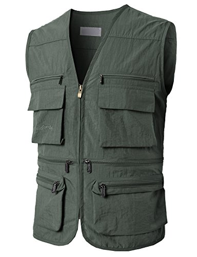 H2H Mens Sleeveless Vivid Colors Multi Pockets Work Utility Vest with Multiple Pockets Charcoal US M/Asia L (KMOV0148) ()