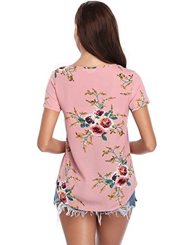 de Elegante de Pink manga larga Top gasa de Camiseta Blusa con floral mujeres estampado Shirt Vintage Mangas Casual cuello cortas Tops las con floral Blusa Fqnw7dZ