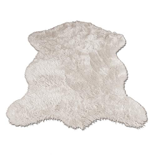 Classic White Sheepskin / Polar Bear Pelt Shape Rug - Top Quality Faux Fur Rugs - New From France (2x4, 3x5 & 5x7) (3x5 (actual 40