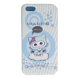 Fashionable Cartoon Style Little Cute Blue Cat Pattern PU Full Body Case with Stand for iPhone 5/5S Protective Case