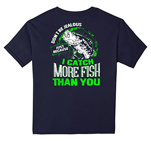 unisex-child Don't be jealous just because I catch More Fish Than You 12 Navy - Jealous Girls T-shirt