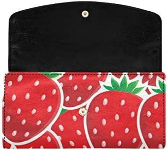 InterestPrint Cute Strawberry Funny Fruit Womens Clutch Wallet Large Wristlet Zipper Clutch Large Travel Purse