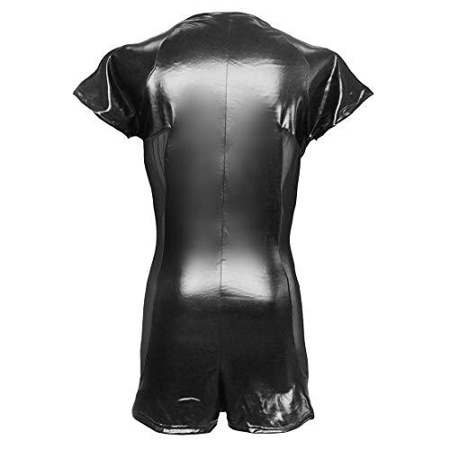 9ca4dd817b7b Wondermiracle Sexy Men s Faux Leather Wet Look Bodysuit Romper Mesh Zipper  One Piece Catsuit Clubwear Costume