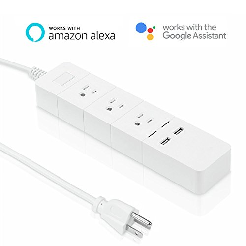 meross Power Strip/ USB Charger, Surge Protector with 3 AC Outlet 2 USB Port (3.1Amp), 6ft Extension Cord, White