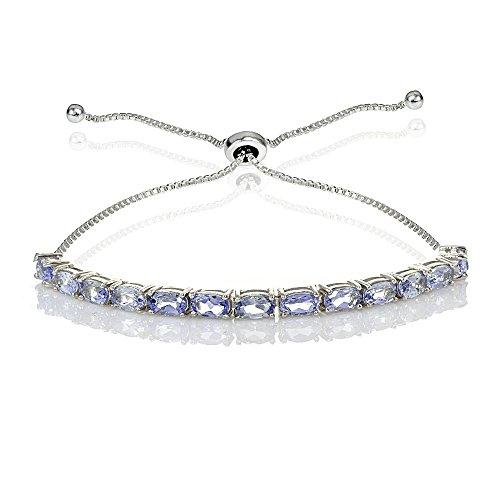 Sterling Silver 5x3mm Tanzanite Oval-Cut Bolo Pull-string Tennis Bracelet