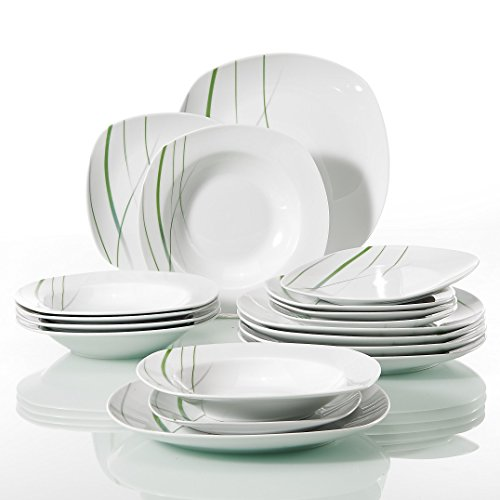 Ivory Porcelain - VEWEET 'AVIVA' 18-Piece Ivory White Porcelain Green Line Patterns Dinnerware Sets of 7.5