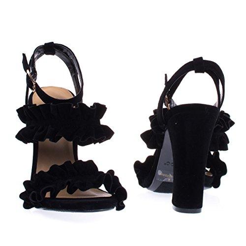 Ruffled Trimmed Dress Sandal, Brazilian High Block Heel Black