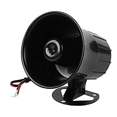 ASHATA Horn Siren, 110dB DC 12V Wire Loud Horn Alarm Siren Speaker,Smart Burglar Alarm System for Outdoor Security
