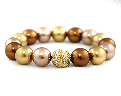 Formal Bronze, Gold and Taupe Faux Pearl Stretch Bracelet - Bridesmaid Jewelry (Brown)