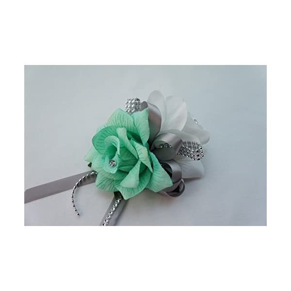 Angel Isabella Wrist Corsage – Mint Green and White Artificial Rose Corsage