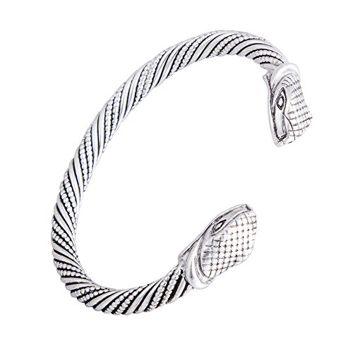 - Qualified Vintage Viking Snake Head Wristband Cuff Bangle Bracelets Jewelry for Unisex People (Antique Silver)