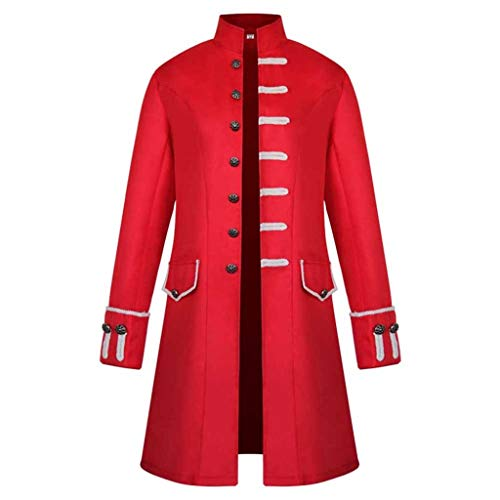 ZEFOTIM Men Winter Warm Vintage Tailcoat Jacket Overcoat Outwear Buttons Coat(XXX-Large,A-Red)