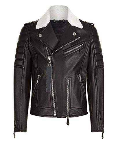 Classic Crop Easy Rider Zip up Jacket Motorcycle Real Leather Plus Size for Men (Large - 42-44, Black)