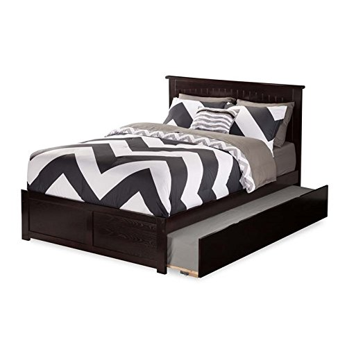 Atlantic Furniture Nantucket Bed with Flat Panel Foot Board and Urban Trundle, Full, Espresso Espresso Trundle