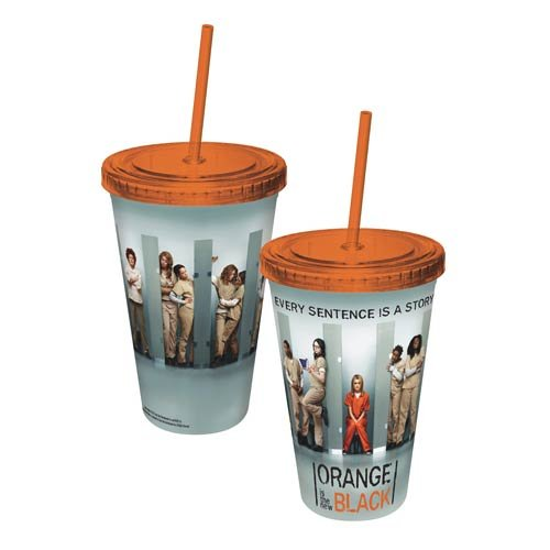 ICUP Orange is The New Black Cast Cup with Straw, Clear