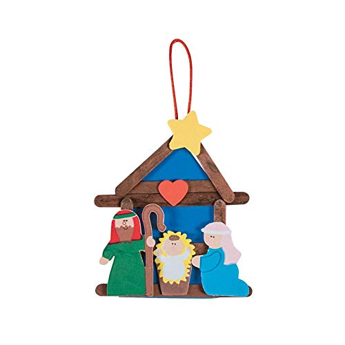 Nativity Craft Stick Religious Christmas Ornament Craft Kits - Pack of 12 Kits