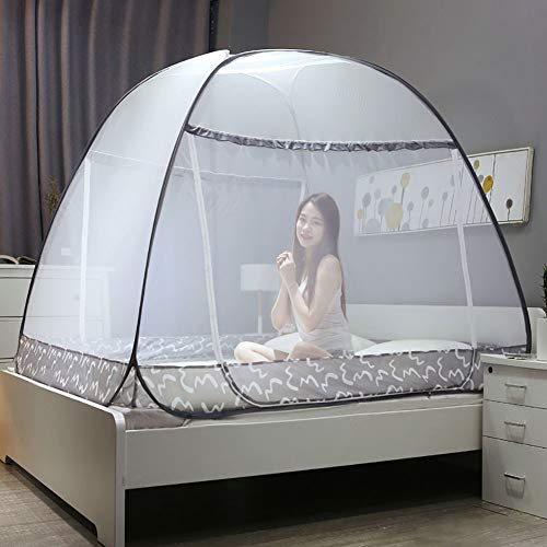 Pop up Mosquito Net for Bed Camping Baby Crib Portable Anti Mosquito Tent Free Standing Kids Adult Bottomed Sleep Bug Nets Outdoor Foldable Popup Large Mesh Canopy,Adult Travel Fit Twin, Full, Queen, by XEHbaby (Image #1)