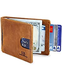 RFID Blocking Bifold Slim Genuine Leather Thin Minimalist Front Pocket Wallets for Men Money Clip - Made From Full Grain Leather