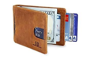 Travel Wallet RFID Blocking Bifold Slim Genuine Leather Thin Minimalist Front Pocket Wallets for Men Money Clip - Made From Full Grain Leather (California Desert 1.0)