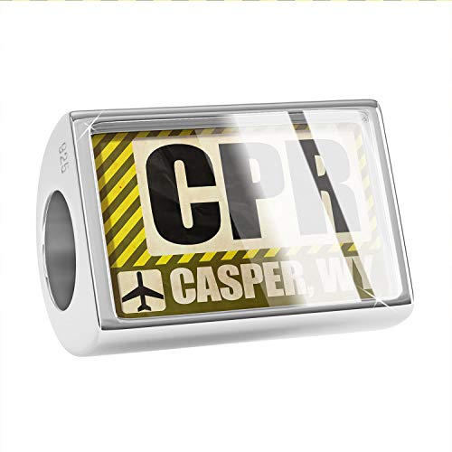 NEONBLOND Charm Airportcode CPR Casper, WY 925 Sterling Silver Bead