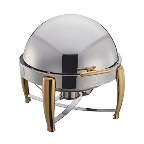 Winware 6-Quart Round Chafer, Roll Top Stainless Steel Chafing Dish with Gold (Gold Accented Roll Top Chafer)