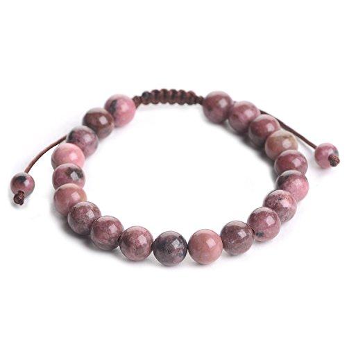 (iSTONE Knitting Adjustable Mens Womens Natural Gemstone 8MM Round Beads Healing Power Stretch Bracelet (Rhodonite) 204003027)