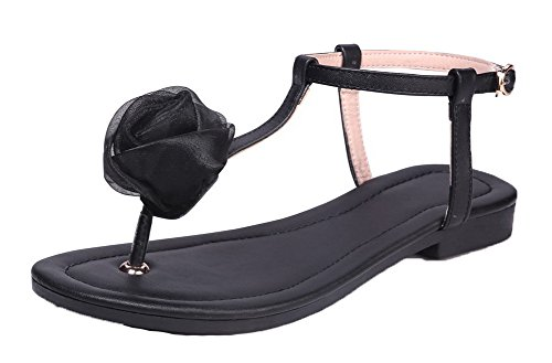 WeiPoot Toe EGHLH005589 PU Sandals Heels Split Low Buckle Solid Black Women's OqPfrwO
