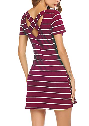Feager Women's Casual Striped Criss Cross Short Sleeve T Shirt Mini Dress with Pockets (M, Wine Red) ()
