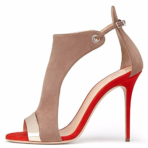 Nilkka 12cm Hääpuku Stilettos Pumps Sandaalit Dress red Sandals Korkokengät Korkokenkiä High Toe Buckle Camel Heel Naisten Soljen Kameli Ankle Womens Wedding Pumput Eldof Peep punainen q1wZ0HZ