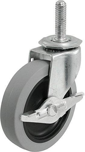 Shepherd Hardware 3266 3-Inch Threaded Stem TPR Caster with Brake, 110-lb Load Capacity