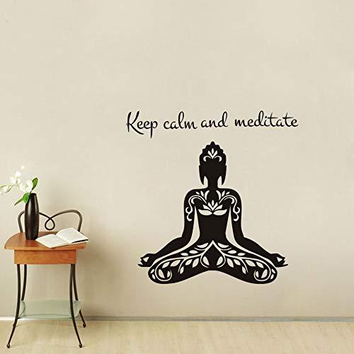 Mantener la Calma y meditar Cita Yoga Lotus Pose Etiqueta de ...
