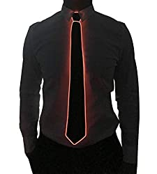 Black Micro Soild-red Light LED Tie