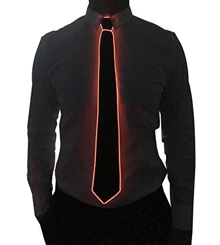 Light Up Neck Tie Led Tie for men Novelty Necktie for Rave Party Burning Man Festivals (1, Black Micro Soild Tie-Red)