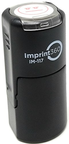 Imprint 360 AS-IMP2007 Teacher Stamp - Straight Face Smily Face, Red Ink, Durable, Light Weight Self-Inking Stamp, 5/8'' Impression Area by Imprint 360 (Image #3)